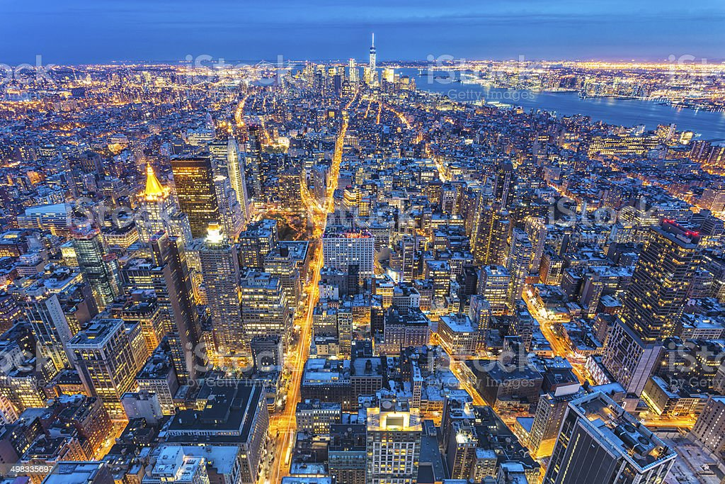 Manhattan, New York, Aerial View at Night stock photo