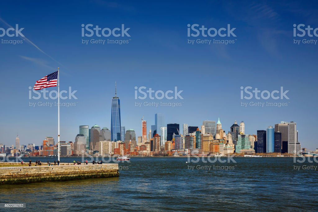 Manhattan, New York, as Seen from Ellis Island stock photo