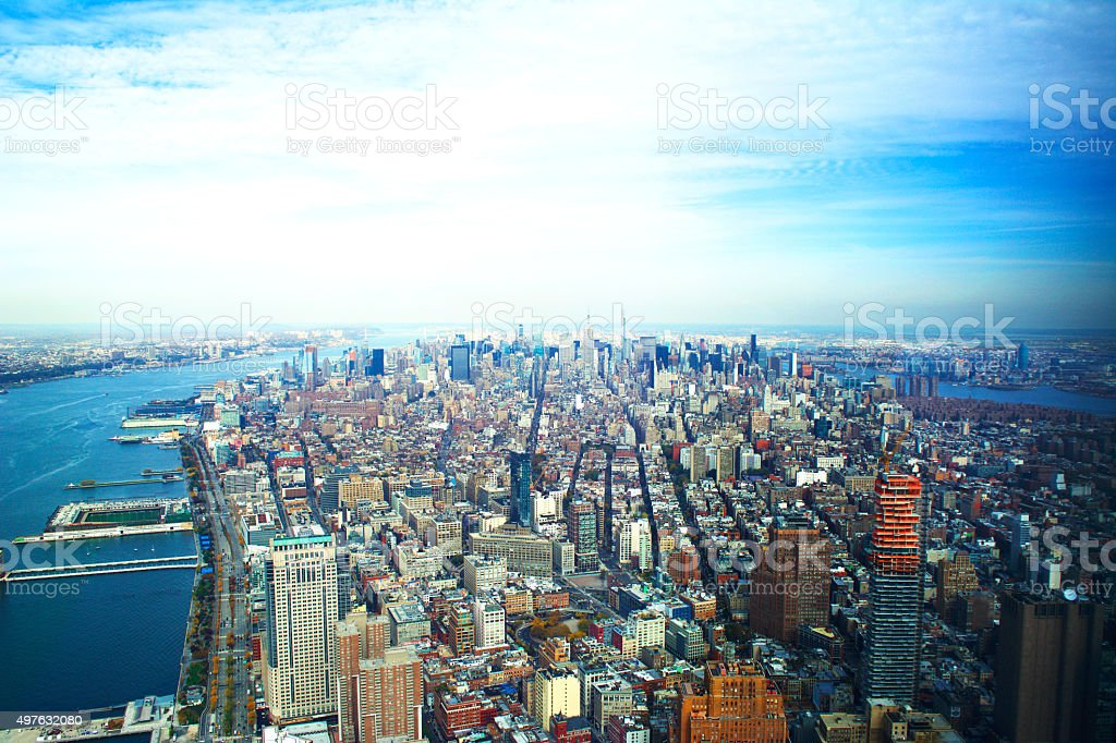 Manhattan New York City Aerial View stock photo