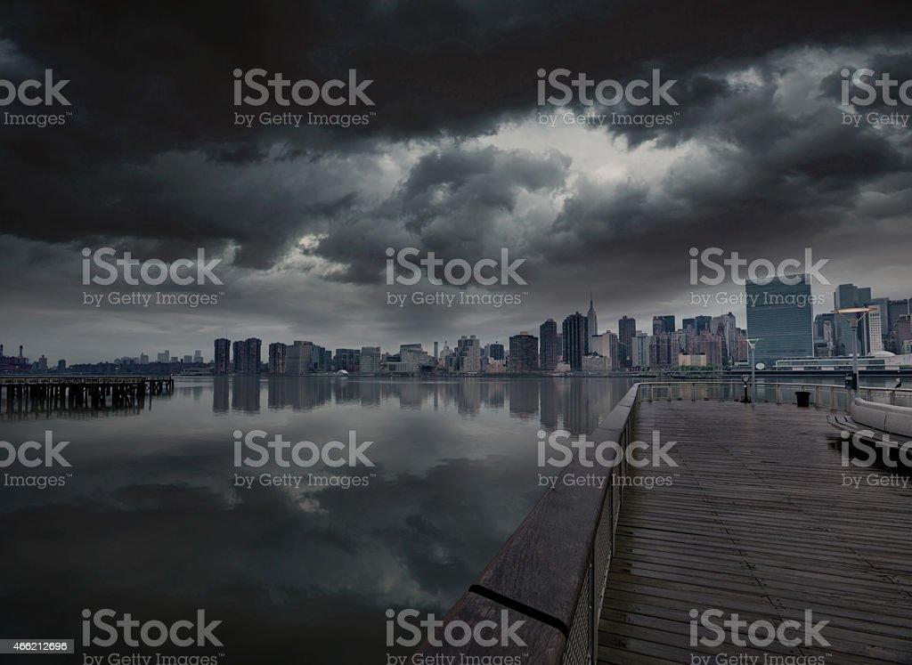 Manhattan New York cloudy dramatic skyline USA stock photo