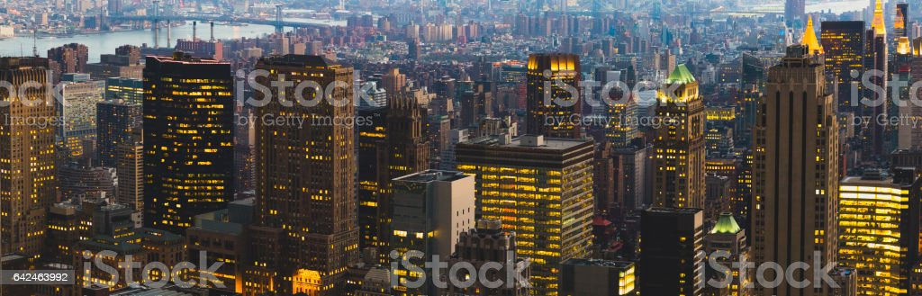 Manhattan night overview stock photo