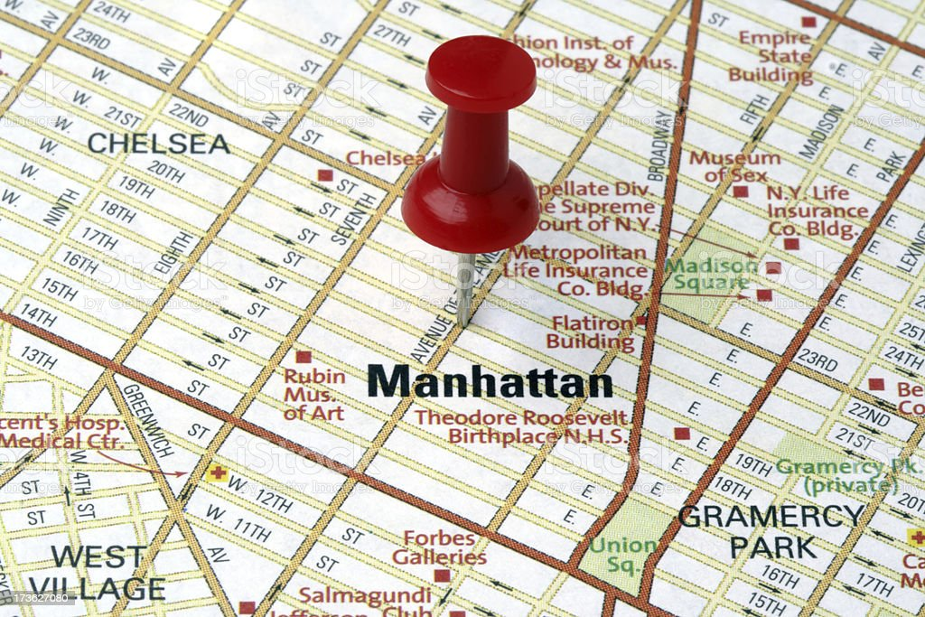Manhattan on a map. royalty-free stock photo
