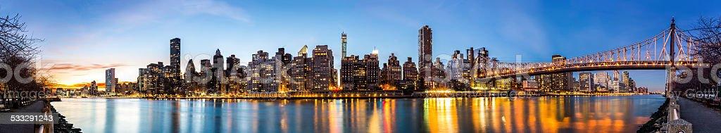 Manhattan panorama and Queensboro bridge stock photo