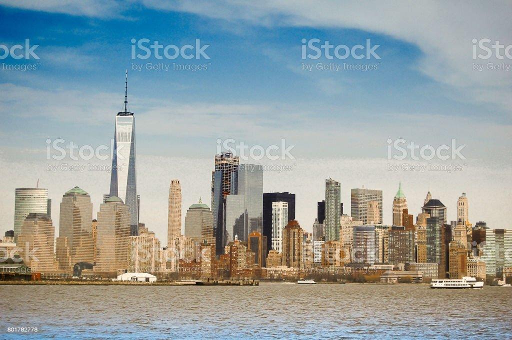 Manhattan Postcard stock photo