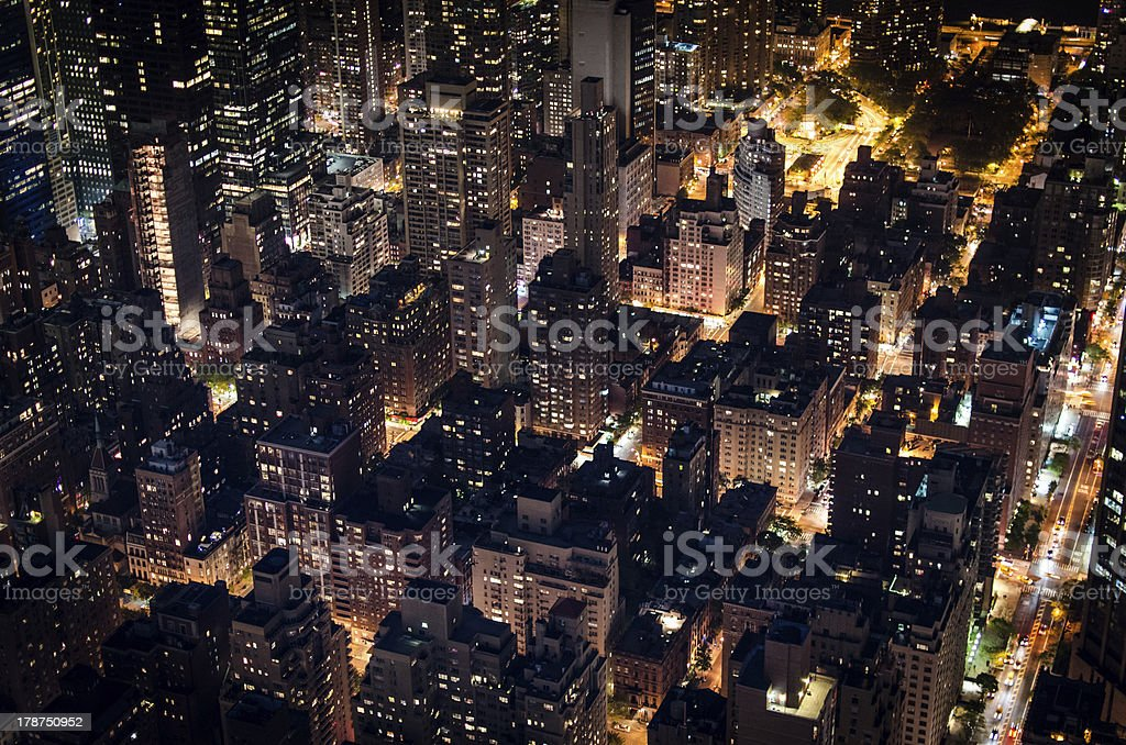 Manhattan rooftops by night royalty-free stock photo