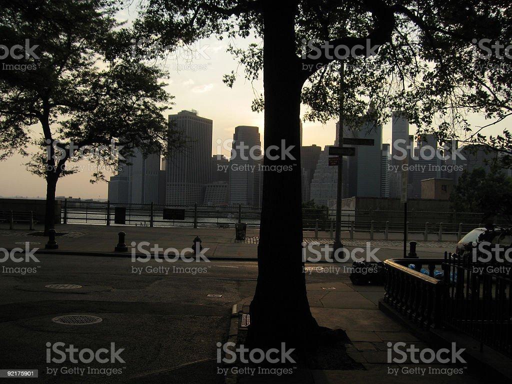 Manhattan seen from Brooklyn Street stock photo