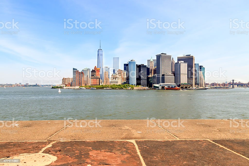 Manhattan seen from Governors Island in New York Harbor stock photo