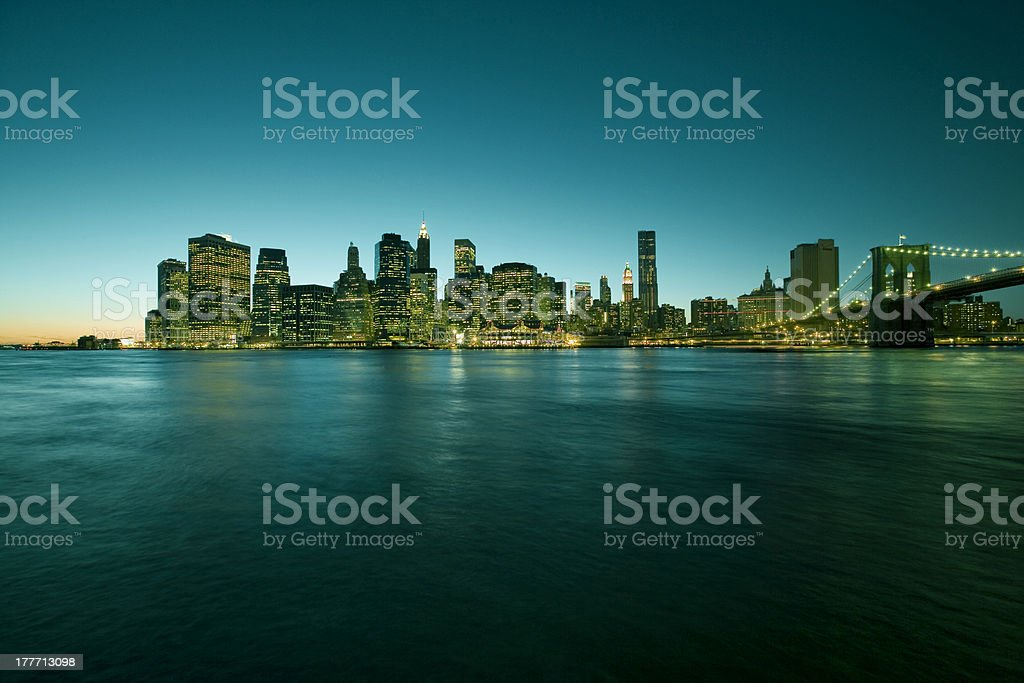 Manhattan Skyline across East River, New York, USA royalty-free stock photo