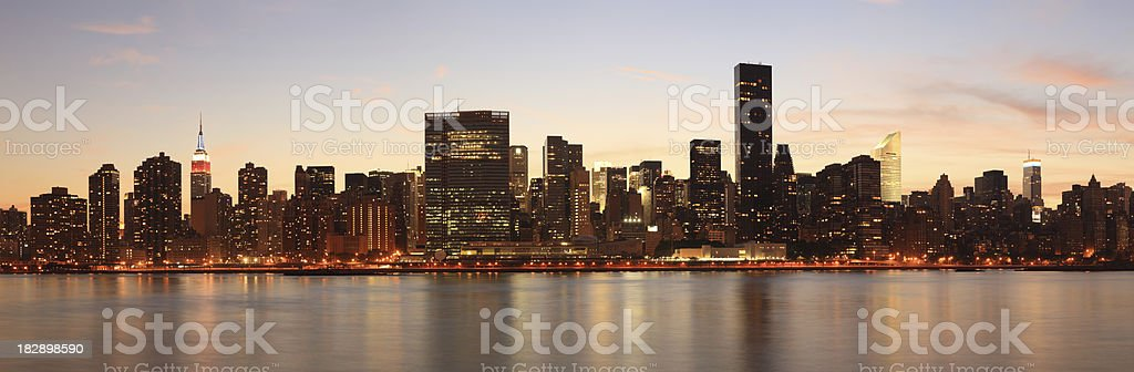 Manhattan Skyline across East River, New York, USA stock photo