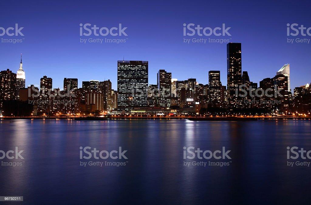 Manhattan Skyline across East River, New York, USA royalty-free stock photo