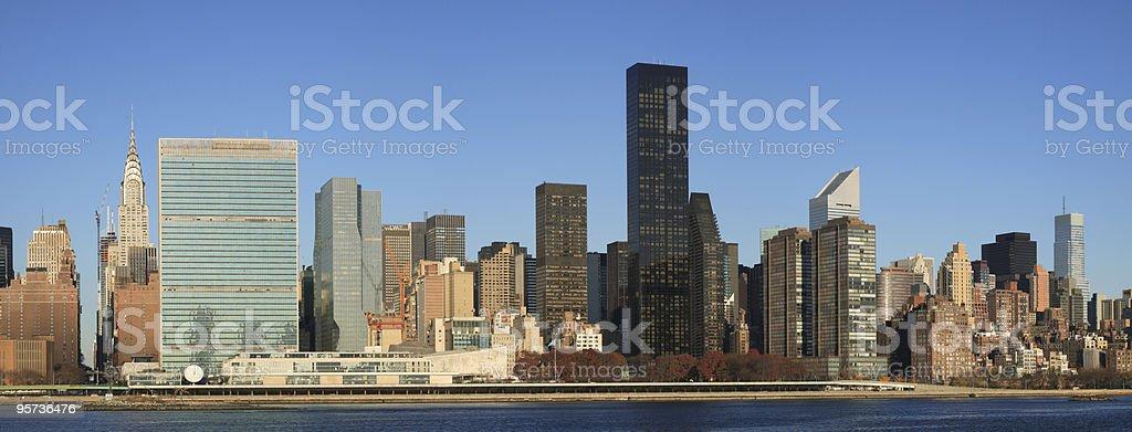 Manhattan skyline across the East River stock photo