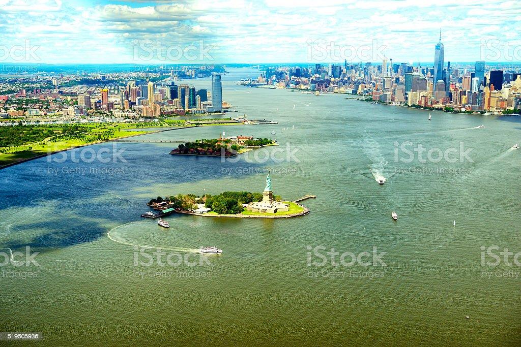 Manhattan skyline aerial view stock photo