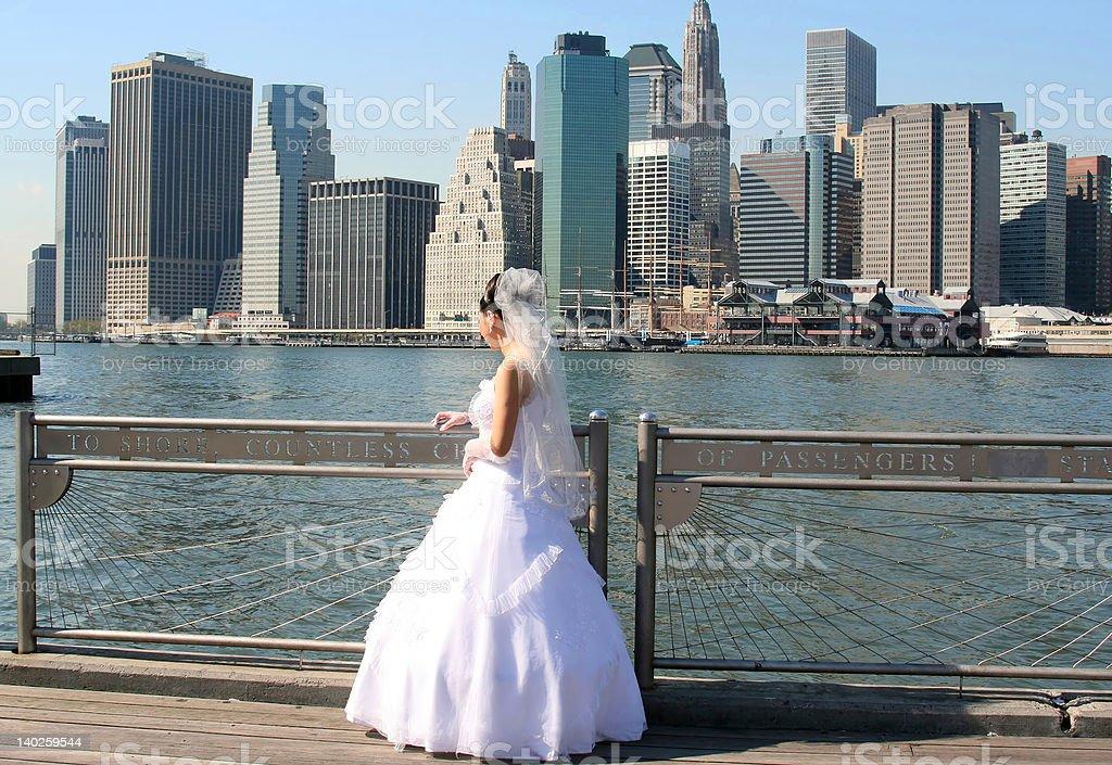 Manhattan skyline and a Bride stock photo