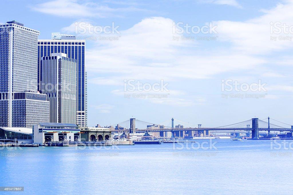 Manhattan Skyline and Brooklyn Bridge on a Clear Day royalty-free stock photo