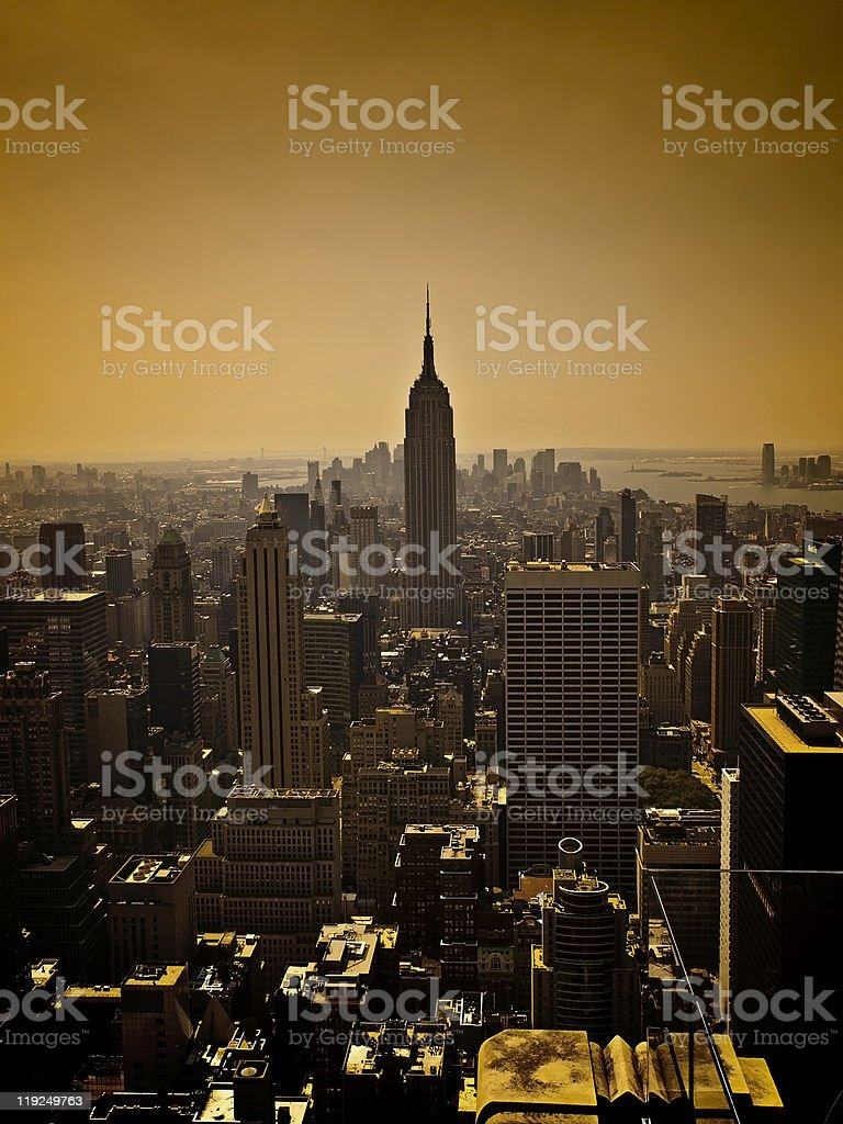 Manhattan Skyline at dusk royalty-free stock photo