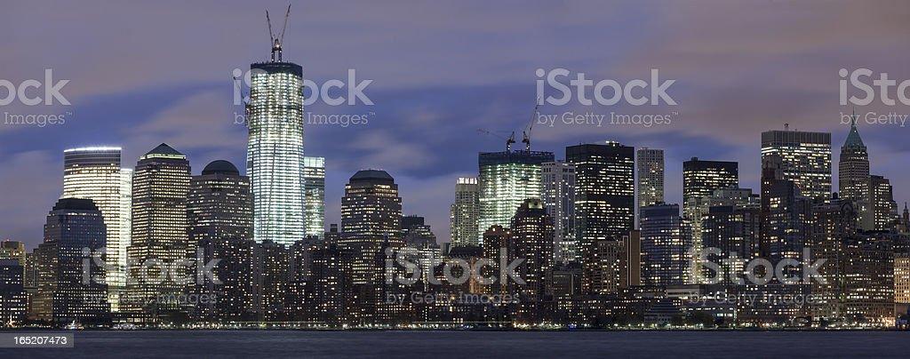 Manhattan skyline at night panoramic royalty-free stock photo