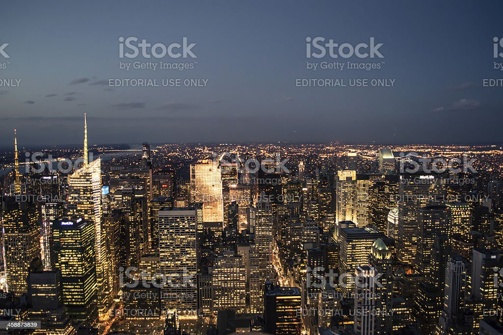 Manhattan Skyline At Night royalty-free stock photo