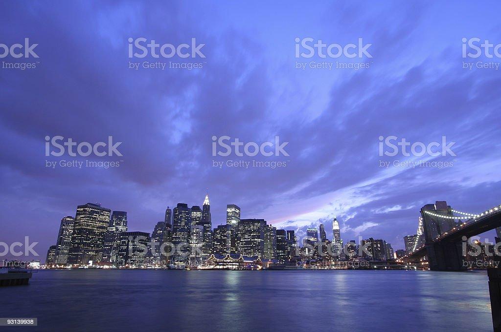 Manhattan skyline at night royalty-free stock photo