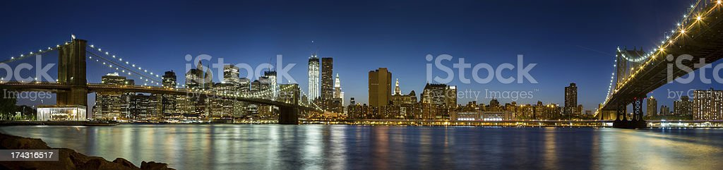 Manhattan skyline at sunset, New York City, high resolution royalty-free stock photo