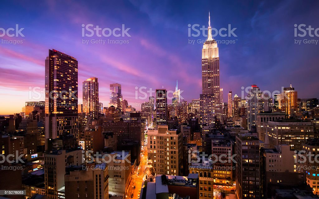 Manhattan skyline at sunset, New York stock photo