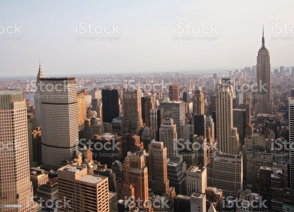 Manhattan skyline at sunset royalty-free stock photo