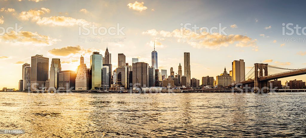 Manhattan skyline at sunset stock photo