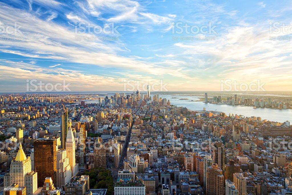 Manhattan skyline at sunset stock photo