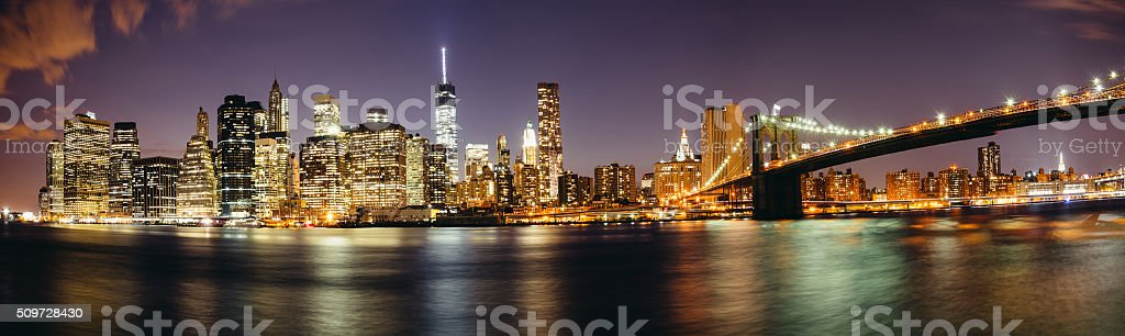 Manhattan skyline by night stock photo