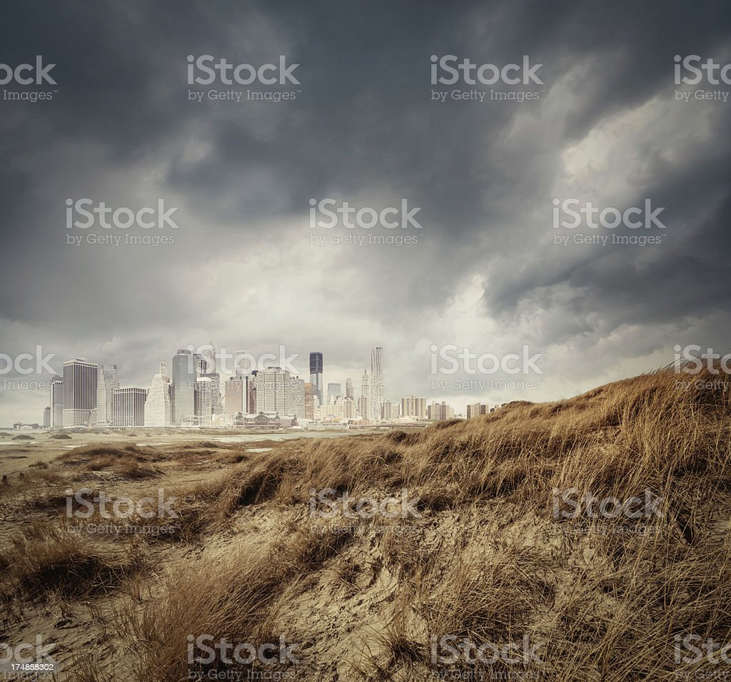 Manhattan Skyline composing royalty-free stock photo
