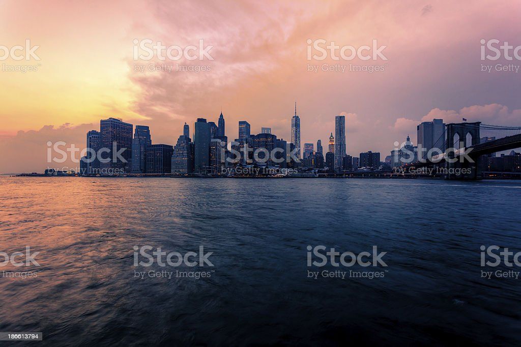 Manhattan Skyline Downtown at Sunset royalty-free stock photo