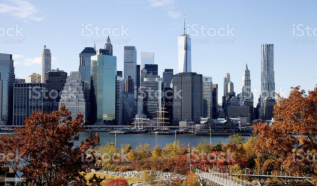 Manhattan skyline during The fall royalty-free stock photo