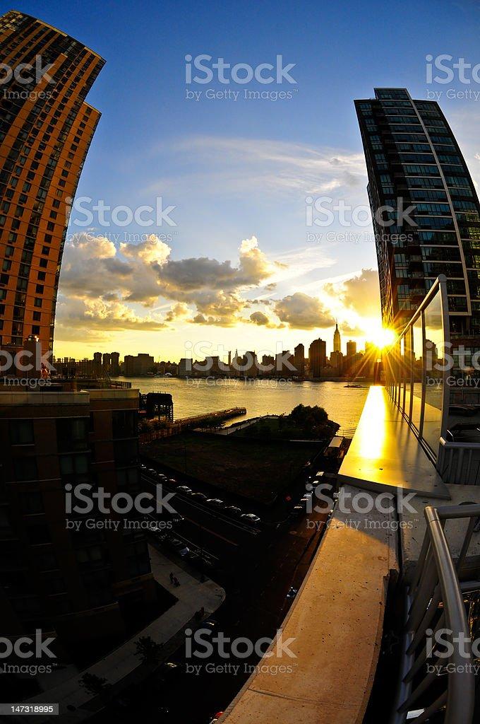 Manhattan skyline fisheye royalty-free stock photo