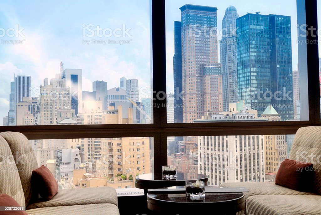 Manhattan Skyline from a window inside bar, NYC stock photo