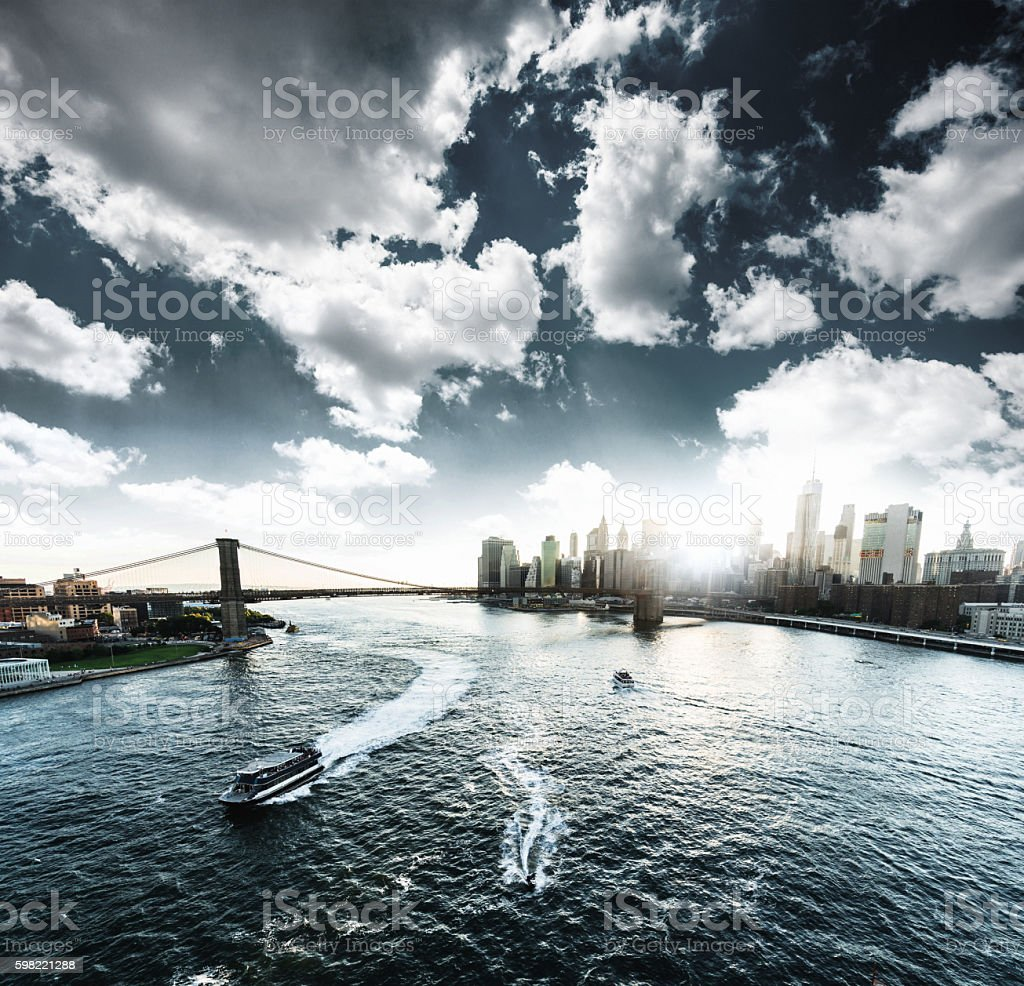 Manhattan skyline from an aerial view stock photo
