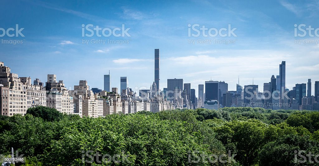 Manhattan Skyline from the Metropolitan Museum of Art stock photo
