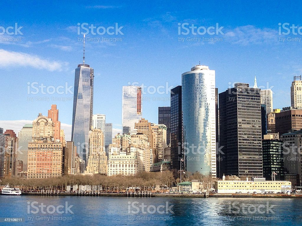manhattan skyline from the river stock photo