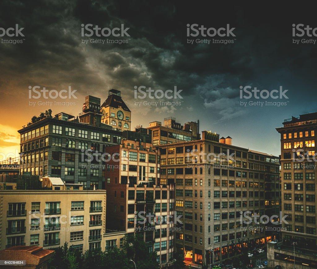 manhattan skyline in New york city stock photo