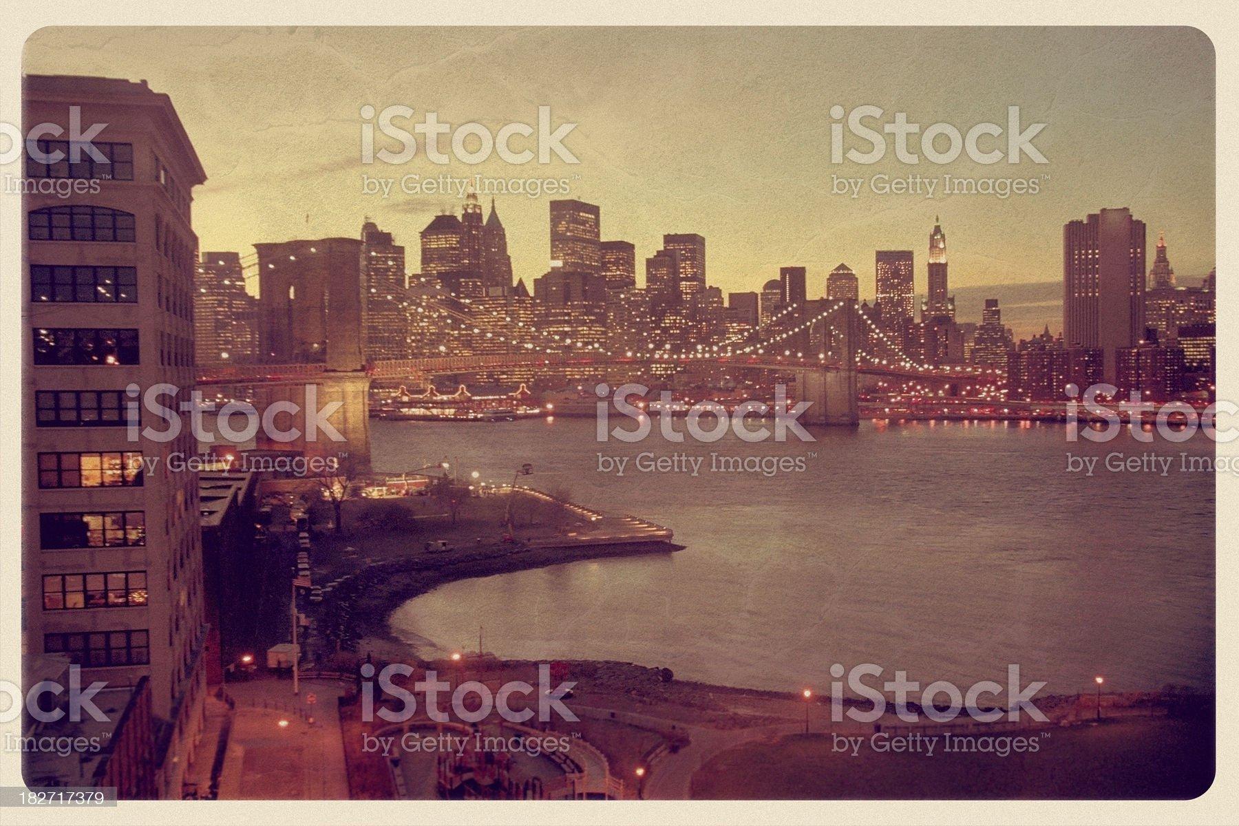 Manhattan Skyline Postcard - Grunge royalty-free stock photo