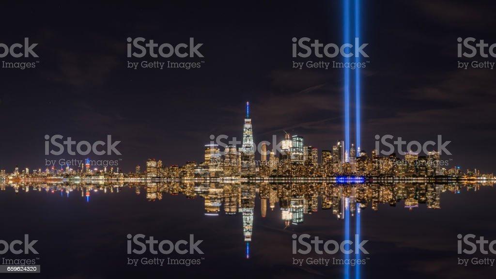 Manhattan Skyline Reflections on September 11th stock photo