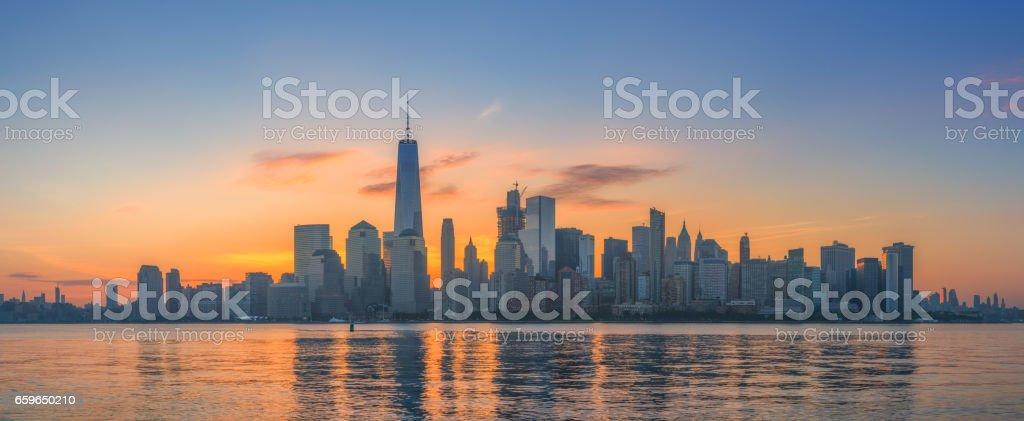 Manhattan skyline sunrise stock photo