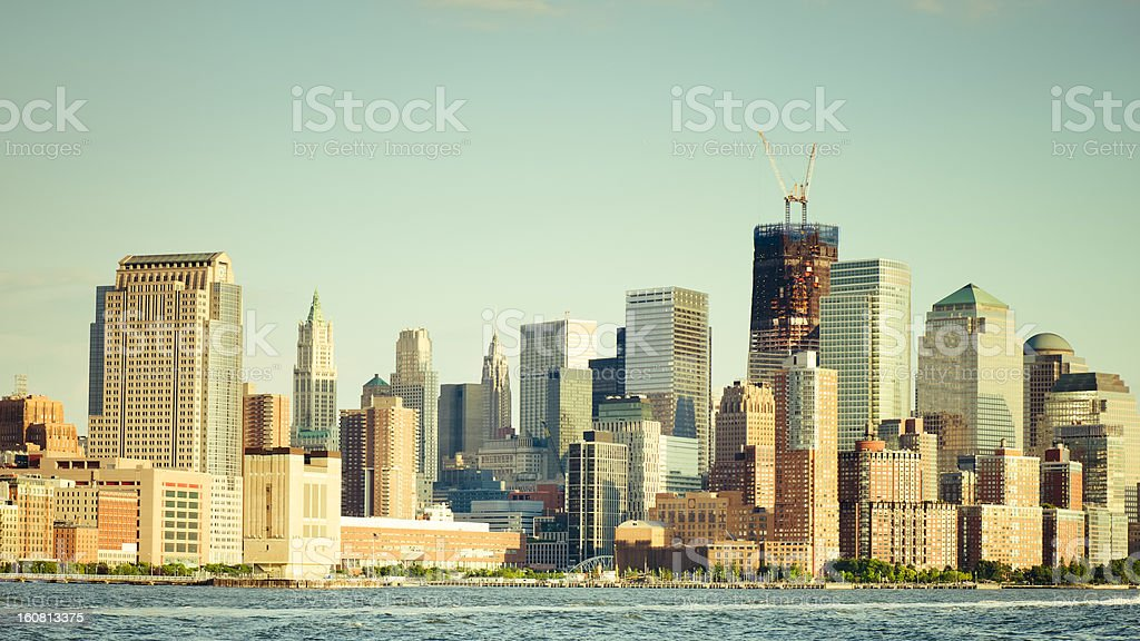 Manhattan skyline view from a boat along the Hudson river royalty-free stock photo