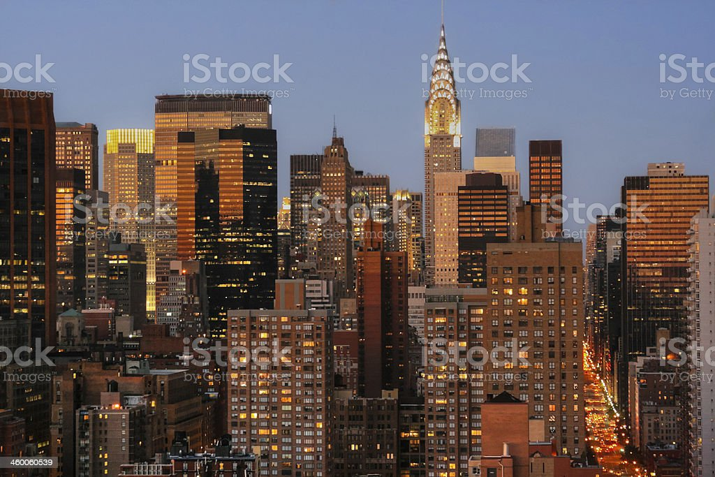 Manhattan Skyline with Chrysler Building at sunset, New York City. stock photo