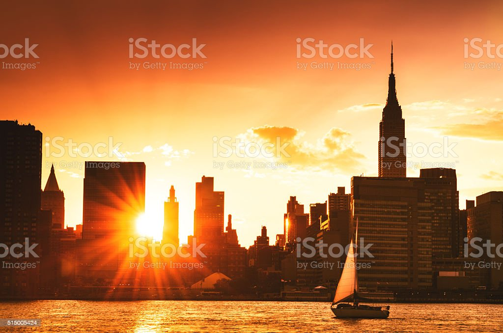 Manhattan skyline with Empire building stock photo