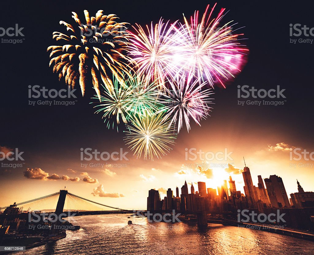 Manhattan skyline with heart shape fireworks for st. valentine stock photo
