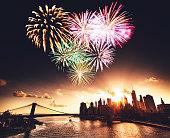 Manhattan skyline with heart shape fireworks for st. valentine