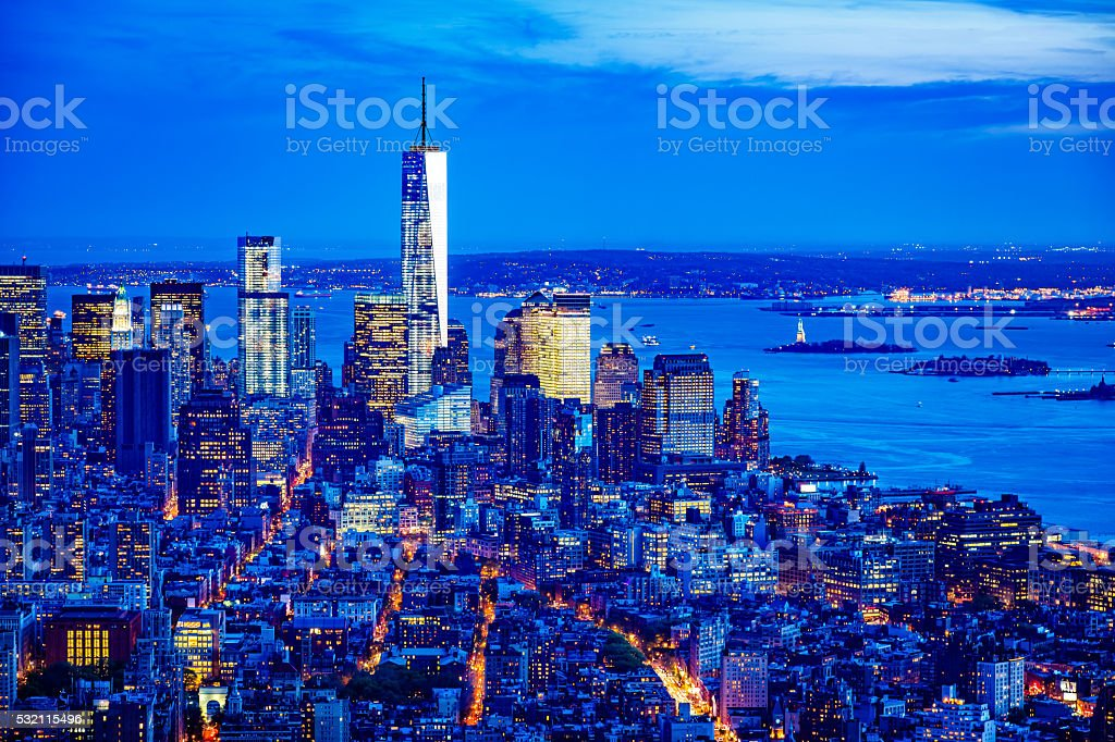 Manhattan skyline with One World Trade Center, New York stock photo