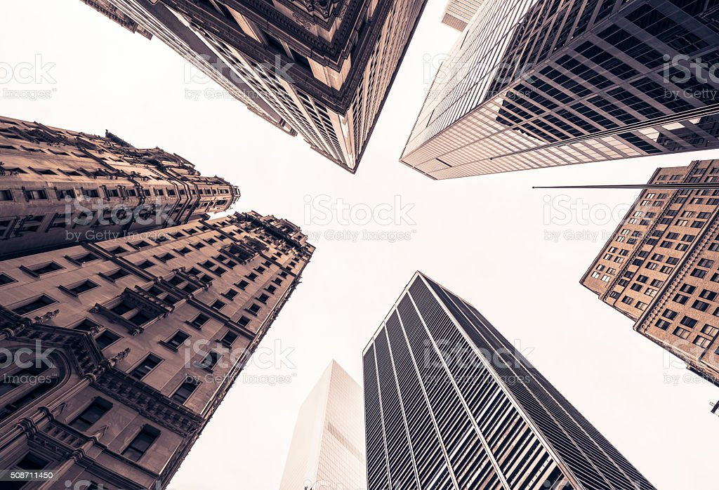 Manhattan Skyscapers In Wall Street New York stock photo