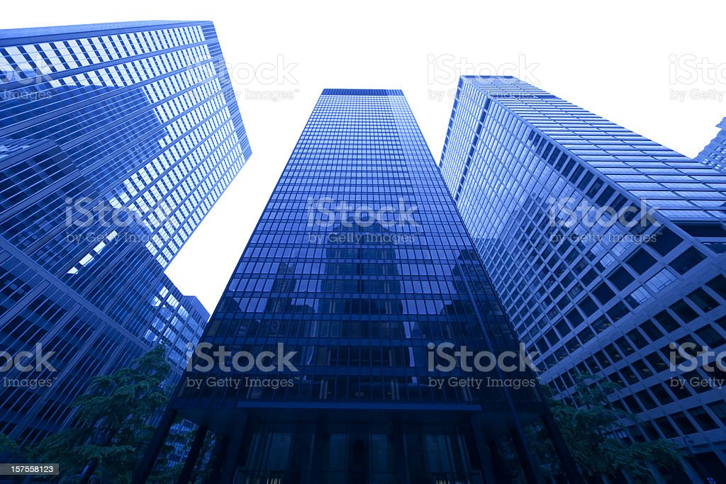 manhattan skyscraper reflecting in facade isolated on white royalty-free stock photo