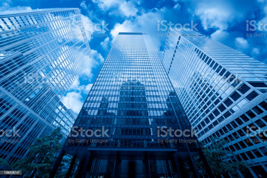 manhattan skyscraper reflecting in facade royalty-free stock photo