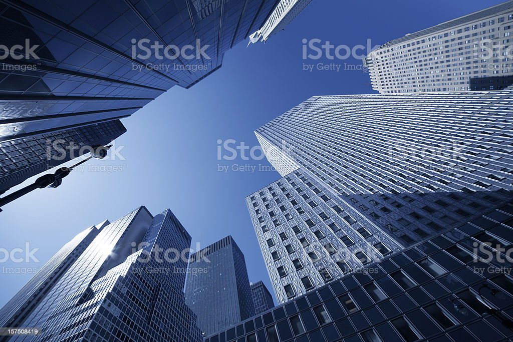 manhattan skyscraper sun reflecting in facade royalty-free stock photo